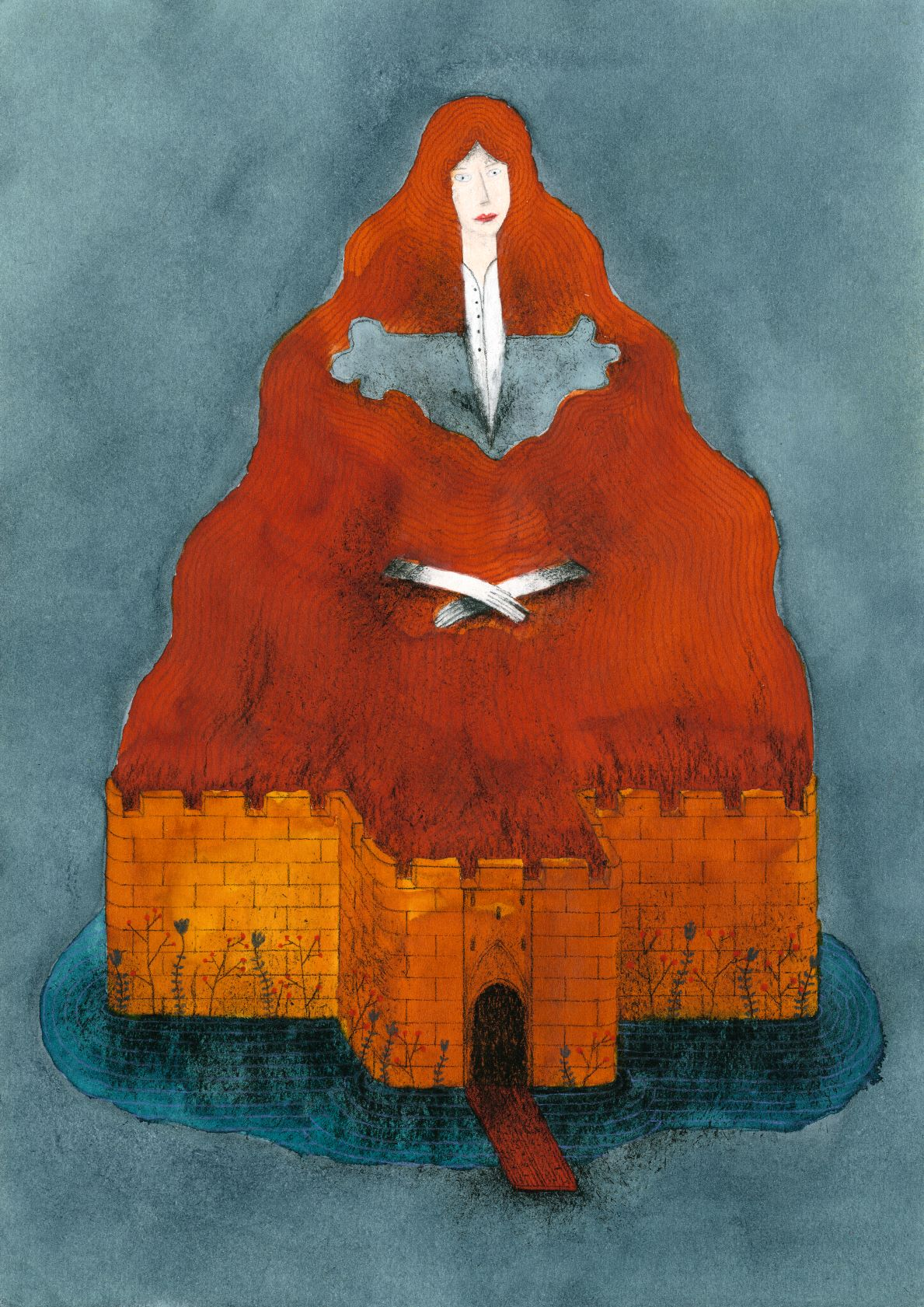 Aquarel of woman and castle